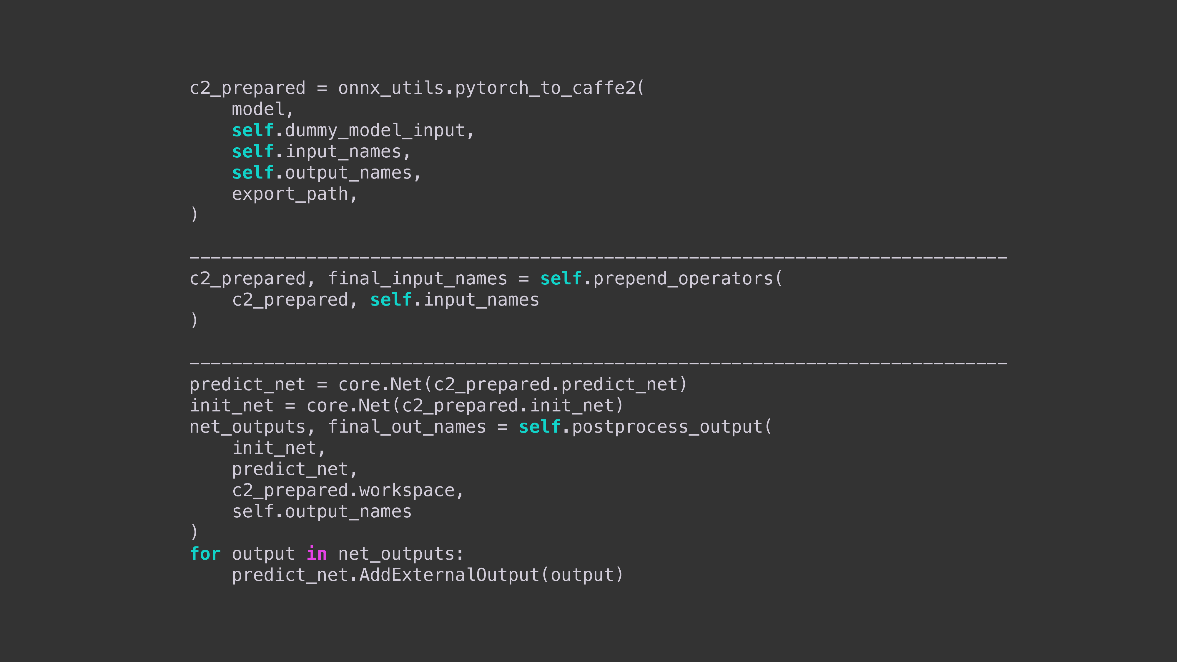 This code sample shows how to export a model to Caffe2 using ONNX, prepend an operator such as string2id, and then perform any necessary postprocessing.