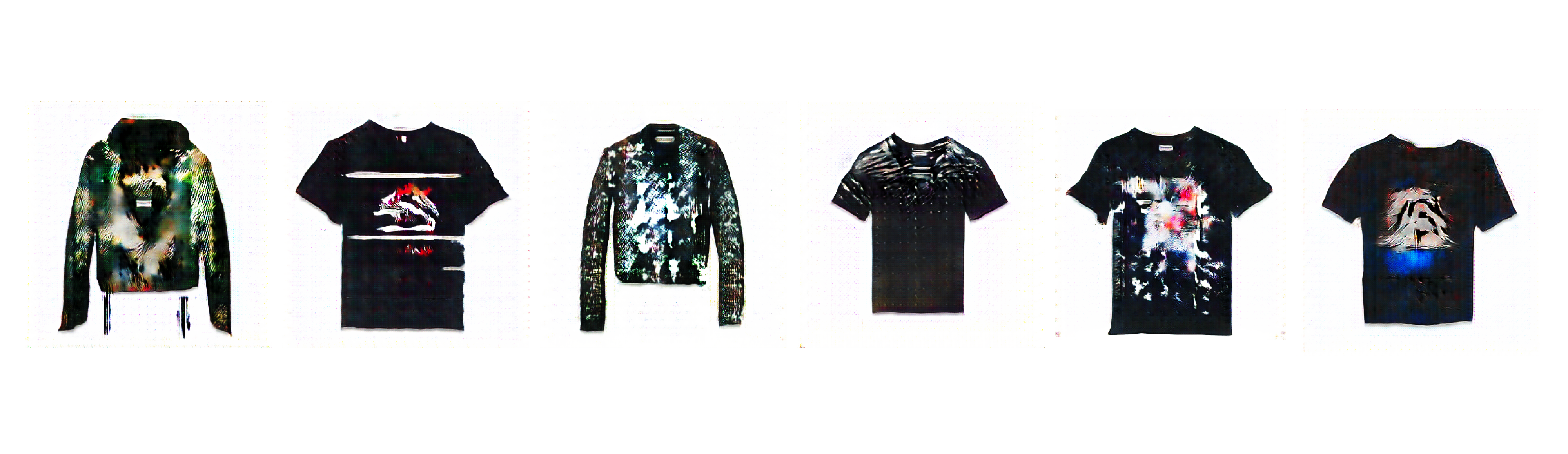 This example shows a series of fashion designs created by generative networks.
