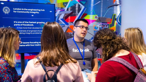 Community integrity engineers demonstrated two-factor authentication logins for Facebook and discussed the work they do to keep accounts secure. London is the biggest center for community integrity–related engineering at Facebook.